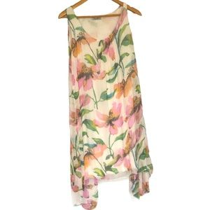Elena Baldi silk floral sleeveless dress S